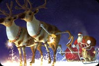 Reindeer & Santa Snowing Night Stationery, Backgrounds