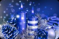Blue Candles Xmas Stationery, Backgrounds