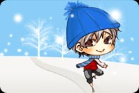 Winter email stationery. Little Boy In Blue Cap