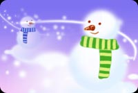 Snowmen In Blue And Green Stationery, Backgrounds